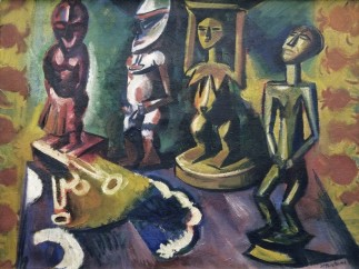MAX PECHSTEIN - Still Life with Negro Statues, 1918
