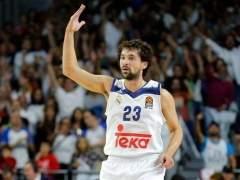Sergio Llull celebra la victoria en Euroliga