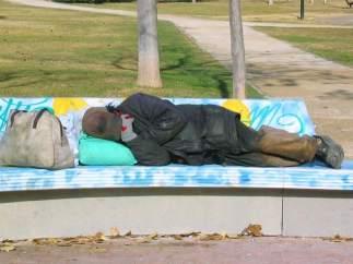 Vagabundo, pobreza, ciudad, parque.