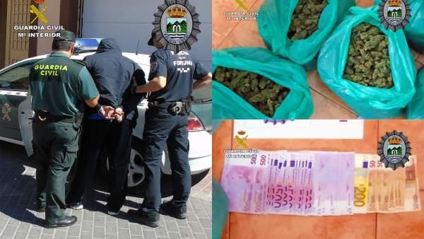 Imagen de uno de los detenidos, la droga y el dinero incautado