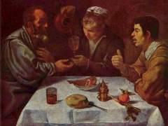 Campesinos comiendo el almuerzo