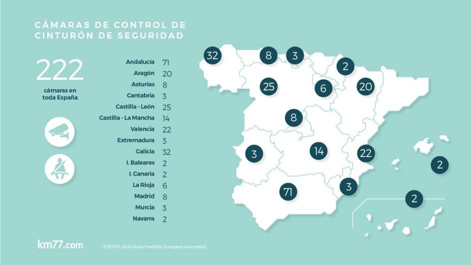 Mapa de los radares que captan los coches sin cinturón elaborado por la asociación de Automovilistas Europeos Asociados