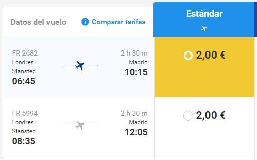 Captura de ofertas de vuelos entre Madrid y Londres de Ryanair