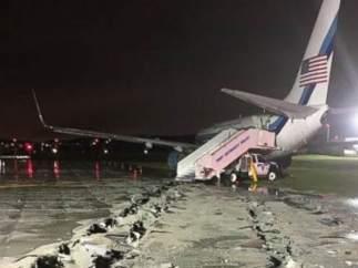 El avión de Pence fuera de pista en LaGuardia