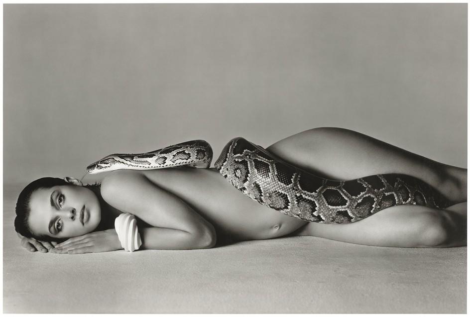 Richard Avedon, Nastassja Kinski and the serpent, Los Angeles, 1981. Líneas sinuosas mandando en este retrato de Richard Avedon de la actriz Nastassja Kinski y una serpiente