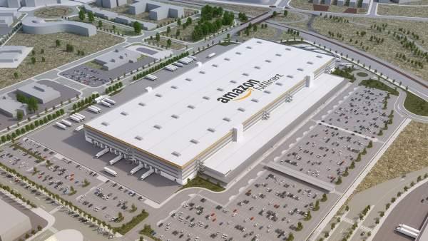 Imagen virtual del centro logístico de Amazon en El Prat