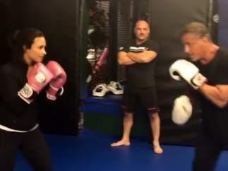Demi Lovato y Sylvester Stallone