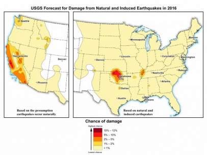 Mapa del riesgo por fracking en EEUU