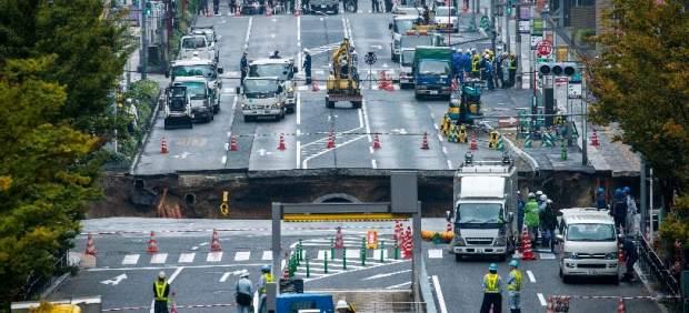 Hundimiento de tierra en Fukuoka