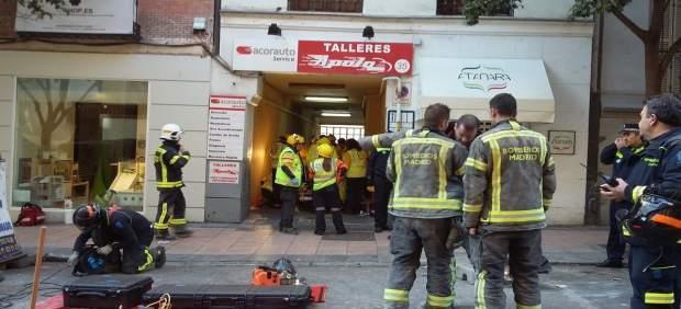 Derrumbe en en edificio de la calle Lagasca.