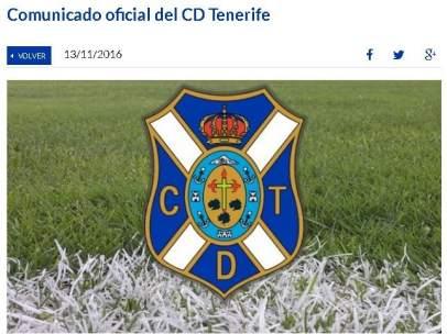 Comunicado del Tenerife