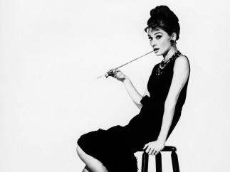Audrey Hepburn, portrait at a bar stool, 'Breakfast at Tiffany's'