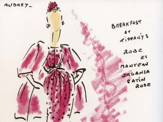 Audrey Hepburn, drawing by Hubert de Givenchy, dressed in an ensemble of clothes worn in 'Breakfast at Tiffany's', 1961
