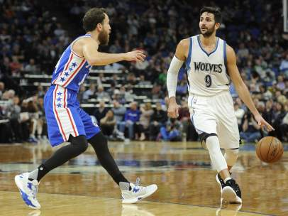 Sergio Rodríguez y Ricky Rubio, en el duelo de NBA