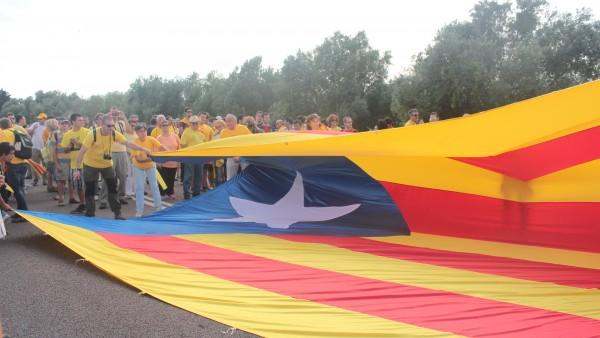Estelada en el tramo uno de la Vía Catalana, a su paso por el río Sénia.