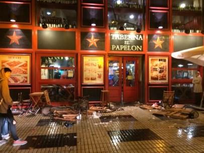 Destrozo de los hinchas en Sevilla