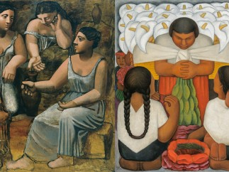Izquierda: Pablo Picasso, Three Women at the Spring. Fontainebleau, summer 1921- Derecha: Diego Rivera, Flower Day (Día de Flores), 1925
