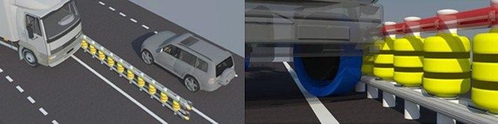 Las guías superiores e inferiores se han colocado de tal forma que puedan ajustarse tanto a los neumáticos de los vehículos grandes como los pequeños, evitando los graves daños que pueden producirse en el sistema de dirección del vehículo.