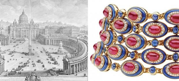 Izquierda: Giuseppe Vasi. Plaza de San Pedro, 1774. Derecha: Gargantilla de oro con rubíes, zafiros, lapislázuli y diamantes, 1979