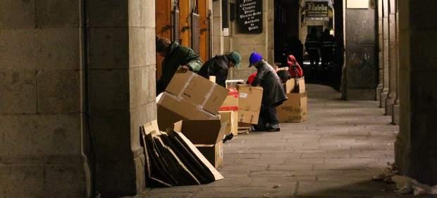 Personas sin hogar en la Plaza Mayor