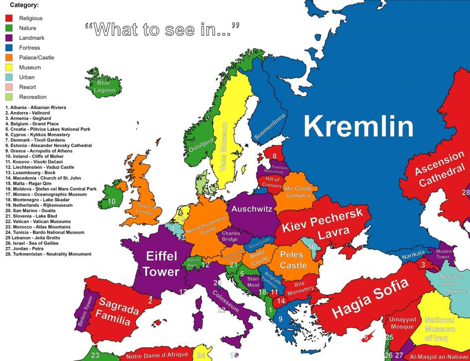 El mapa de europa seg n lo que hay que ver en cada pa s for Best european countries to visit