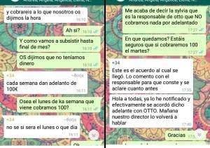 Conversación en WhatsApp de una de las supuestas afectadas