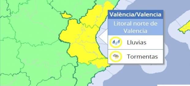 La Comunitat Valenciana seguix en alerta groga per risc de pluja persistent i ocasionalment amb tempestat