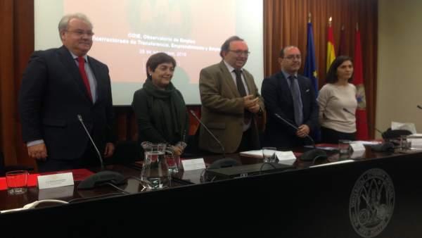 Bastida, Tomás, Orihuela, Monzó y García en la presentación de estudio de la UMU