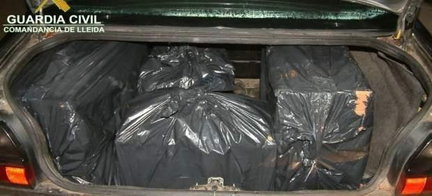 Tabaco escondido en bolsas de basura