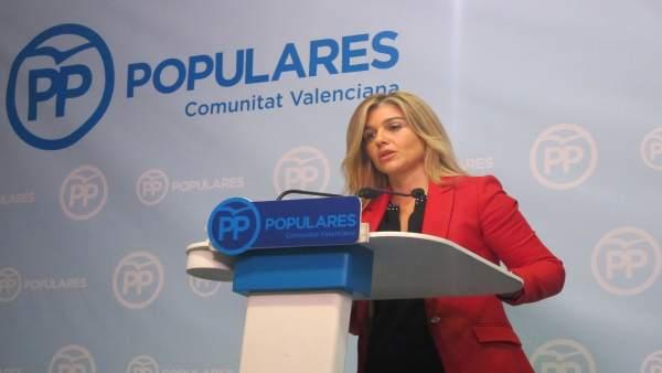 ¨La coordinadora general del PPCV, Eva Ortiz, durante la rueda de prensa
