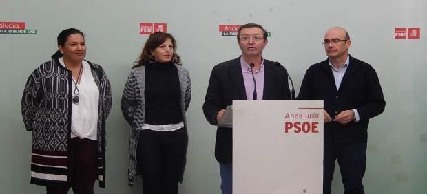 Amo, Téllez, Aguilar y Carmona en la sede del PSOE