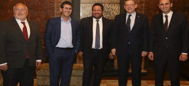 Ximo Puig y Antonio Such con los presidentes de las diputaciones