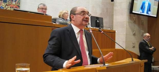 Javier Lambán, este jueves durante la sesión plenaria.