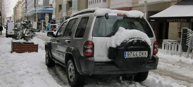 El centro de Vitoria nevado