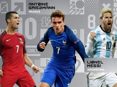 Cristiano, Griezmann y Messi