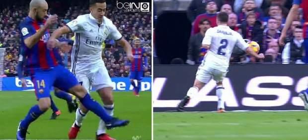 Real Madrid y Barcelona reclamaron sendos penaltis a Clos en el primer tiempo