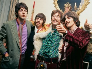 The Beatles at manager Brian Epstein's home for the launch of Sgt. Pepper's Lonely Hearts Club Band. London, May 19, 1967