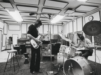 Roger Waters and Nick Mason of Pink Floyd in the studio. c. early 1970s