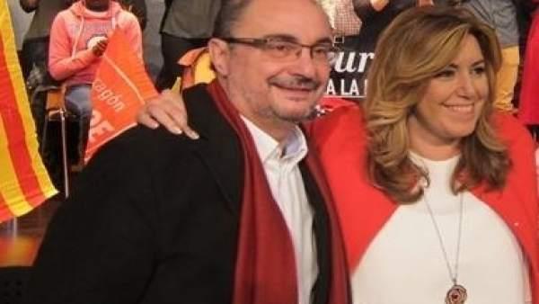 Javier Lambán y Susana Díaz en un acto electoral del PSOE en Zaragoza