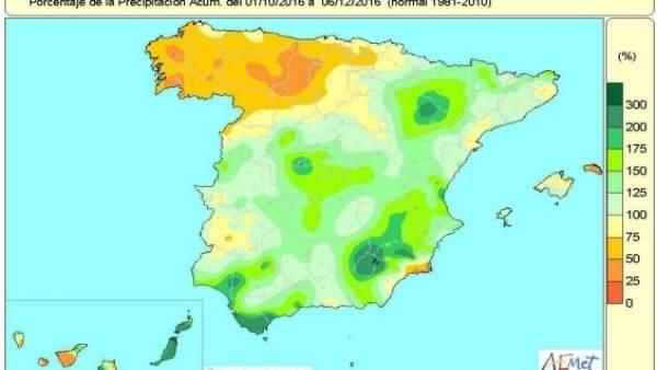 Distribución de las lluvias acumuladas desde octubre al 9 de diciembre de 2016