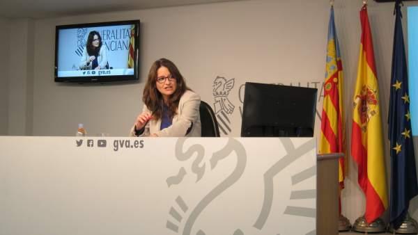 Mónica Oltra en la rueda de prensa posterior al pleno