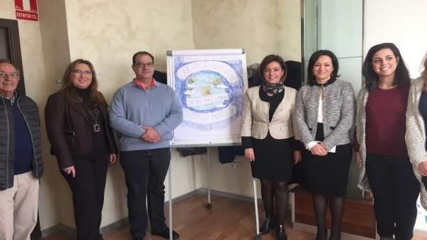 Ambrosio (centro), junto a Crespín, durante el encuentro con Autismo Córdoba