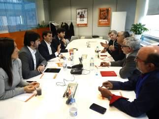 Albert Rivera, es su reunión con los líderes sindicales.