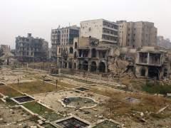 Vista general tras un bombardeo en Alepo, Siria
