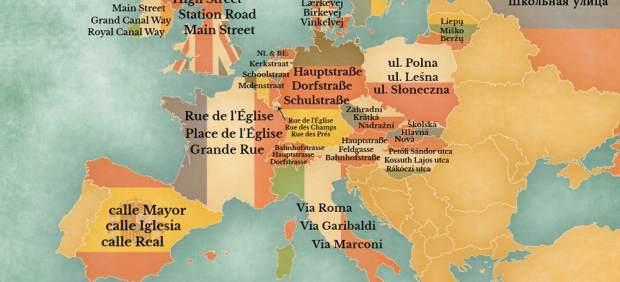 El mapa de Europa con los nombres de calles ms comunes  20minutoses
