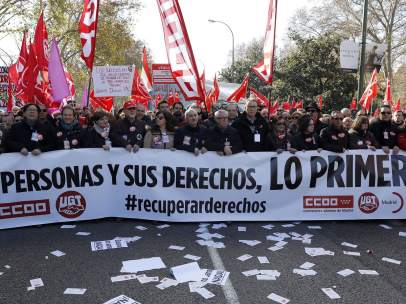 Manifestación de los sindicatos en Madrid