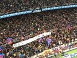 Pancarta de mal gusto en el Camp Nou