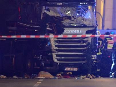 Parte frontal del camión que causó el atentado.