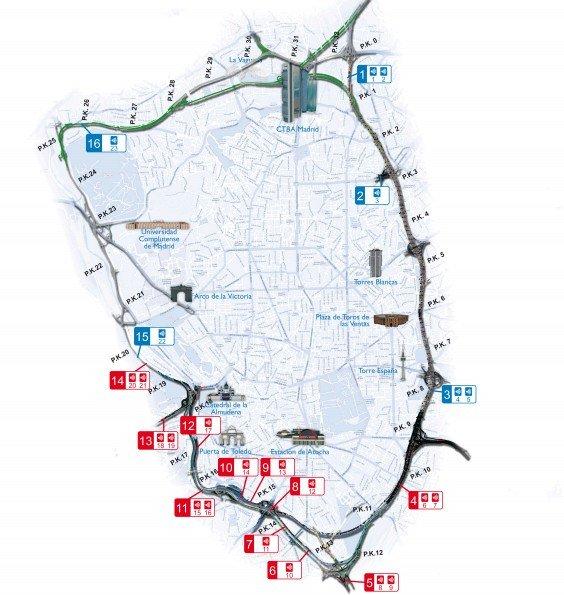 Mapa de los radares de Calle-30 de Madrid que más multan.