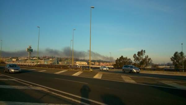 Columna de humo visible en el Aljarafe.
